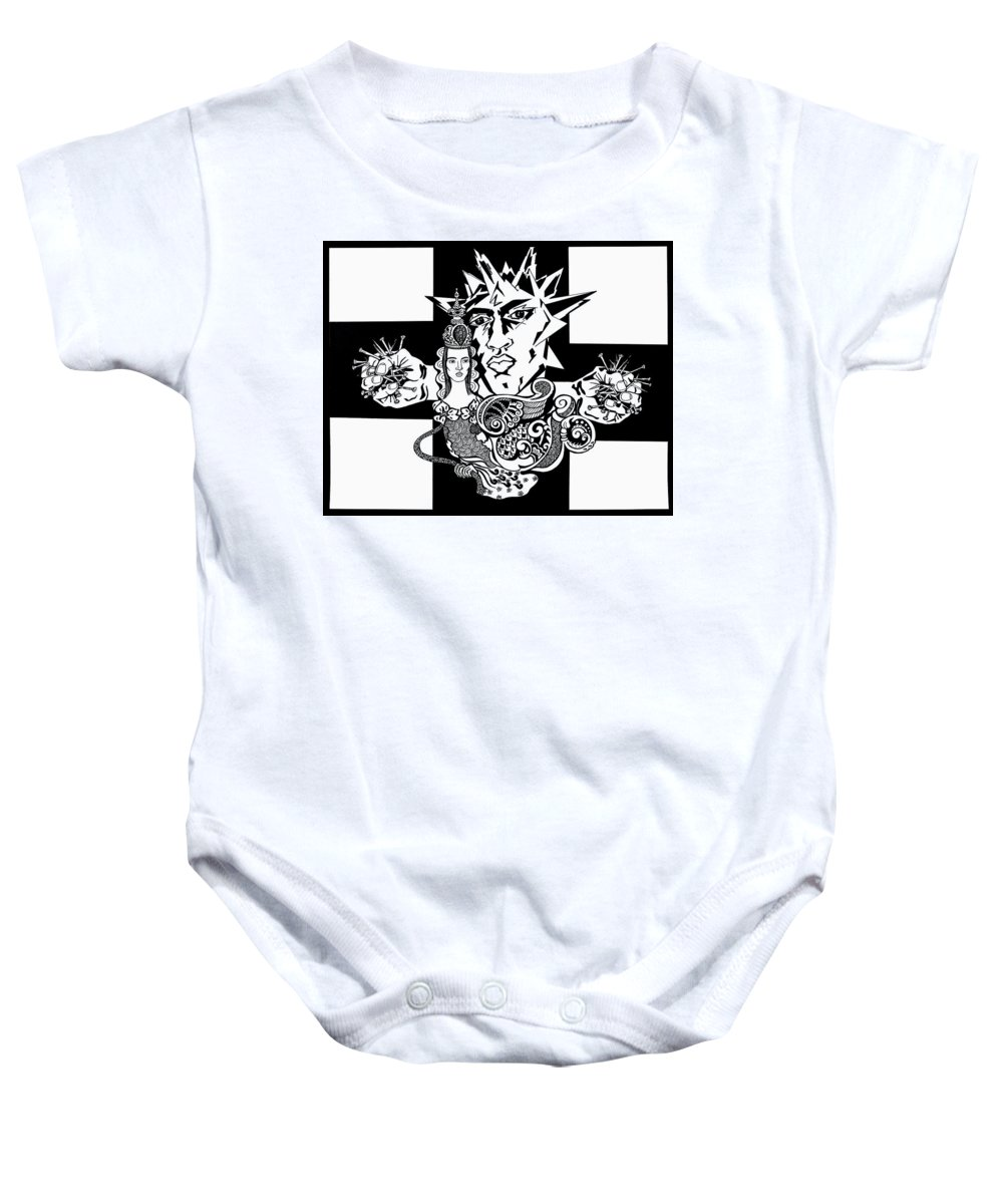 People Baby Onesie featuring the drawing Crucifixion by Yelena Tylkina