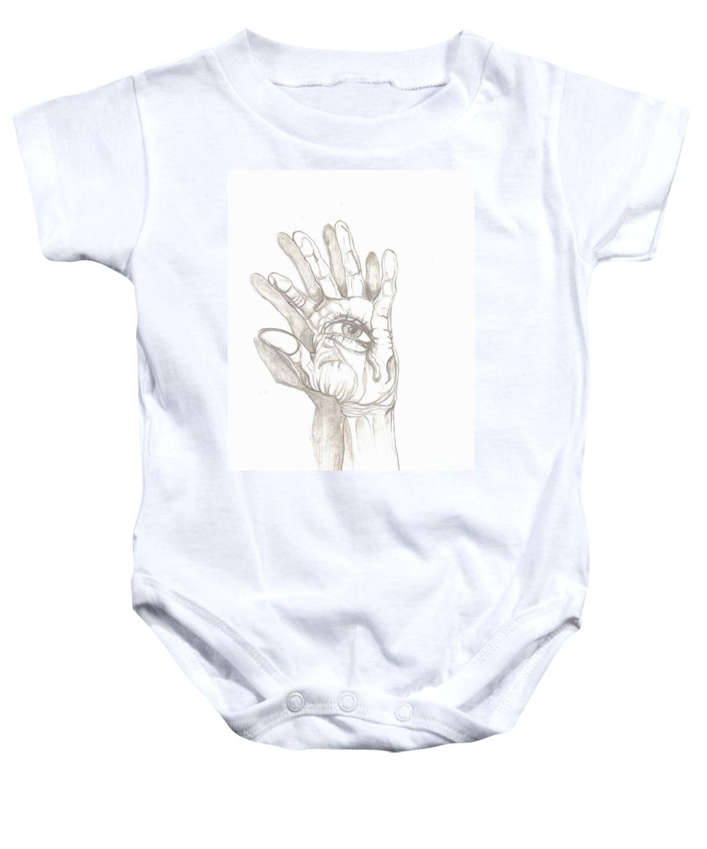 Hand Baby Onesie featuring the drawing Crying Hand by Americo Salazar