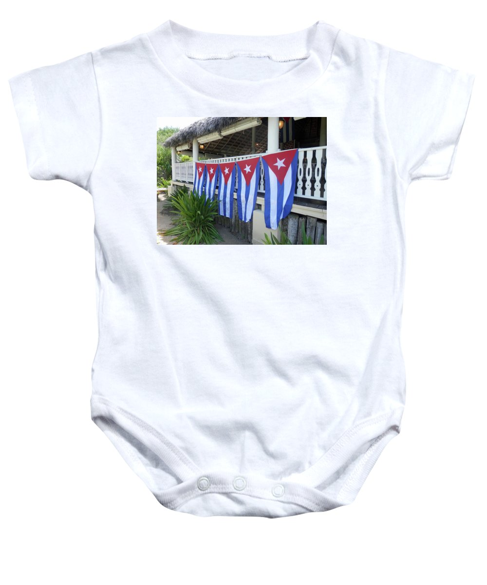 Flag Baby Onesie featuring the photograph Cuban Flags by Pema Hou