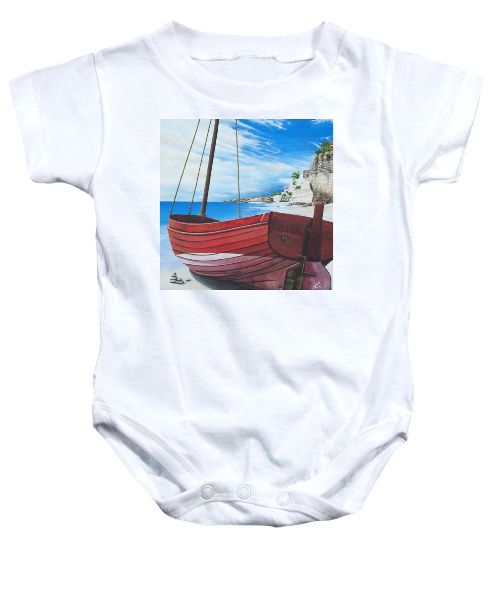 St Maarten Baby Onesie featuring the painting Cupecoy Beach by Cindy D Chinn