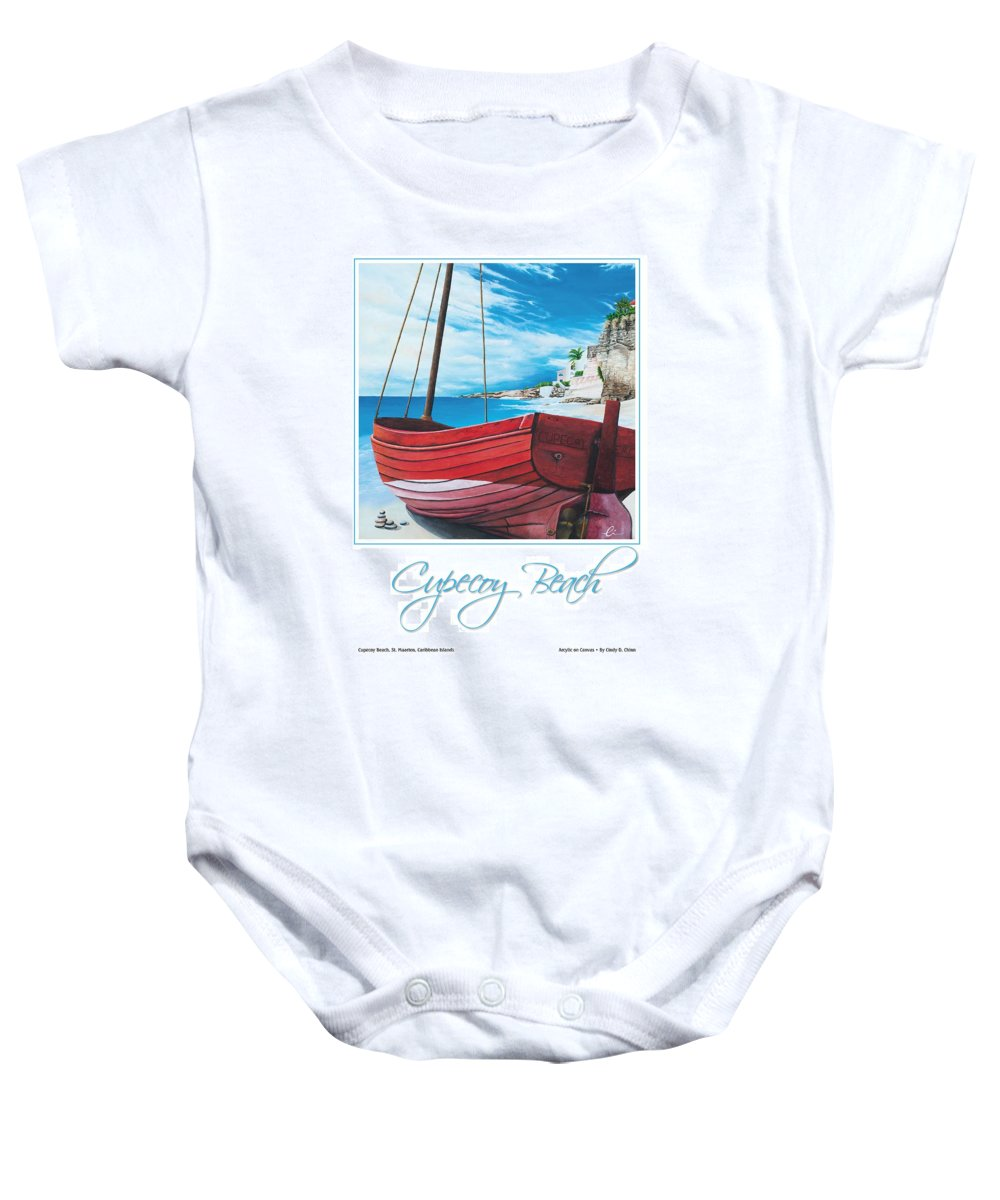 Red Baby Onesie featuring the painting Cupecoy Beach Poster by Cindy D Chinn