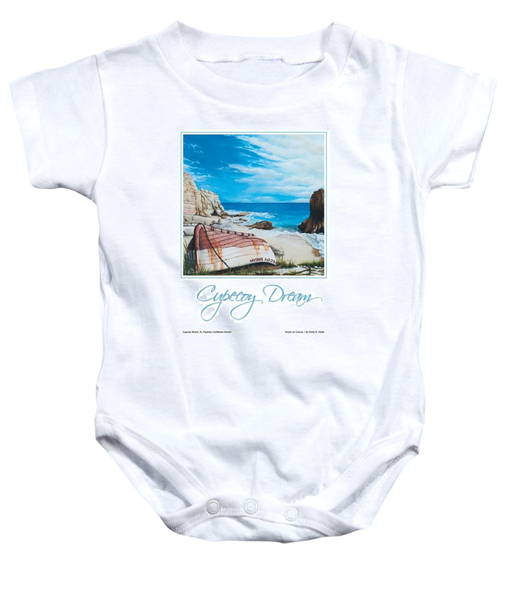 St. Maarten Baby Onesie featuring the painting Cupecoy Dream Poster by Cindy D Chinn