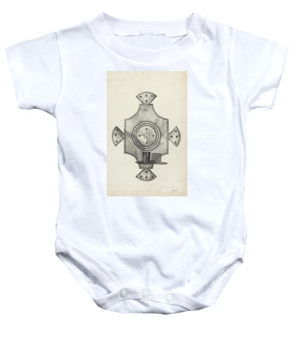 Baby Onesie featuring the drawing Cut Tin Candle Holder by Irene M. Burge