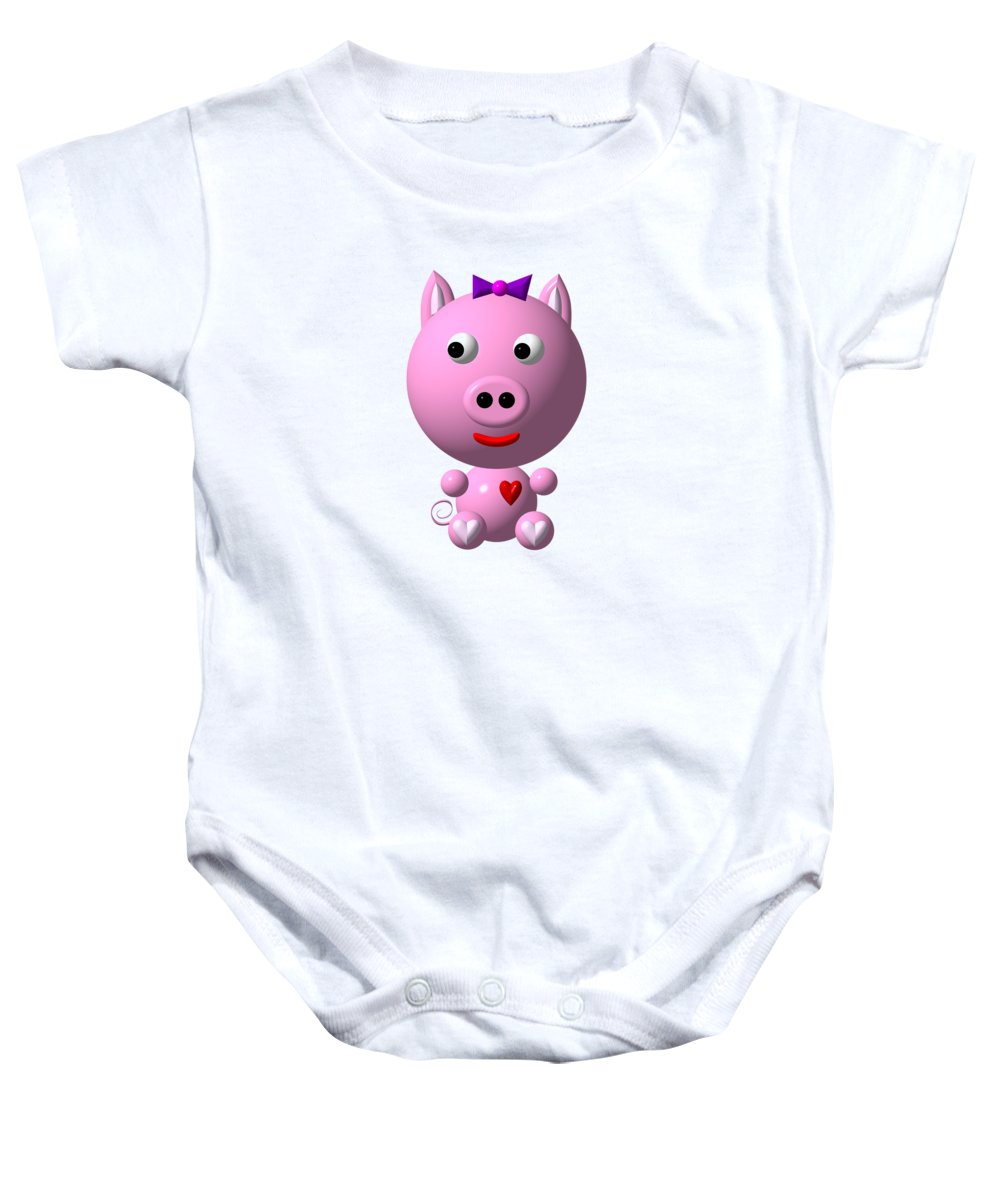 Pigs Baby Onesie featuring the digital art Cute Pink Pig With Purple Bow by  Rose Santuci d10f7e32fdd3