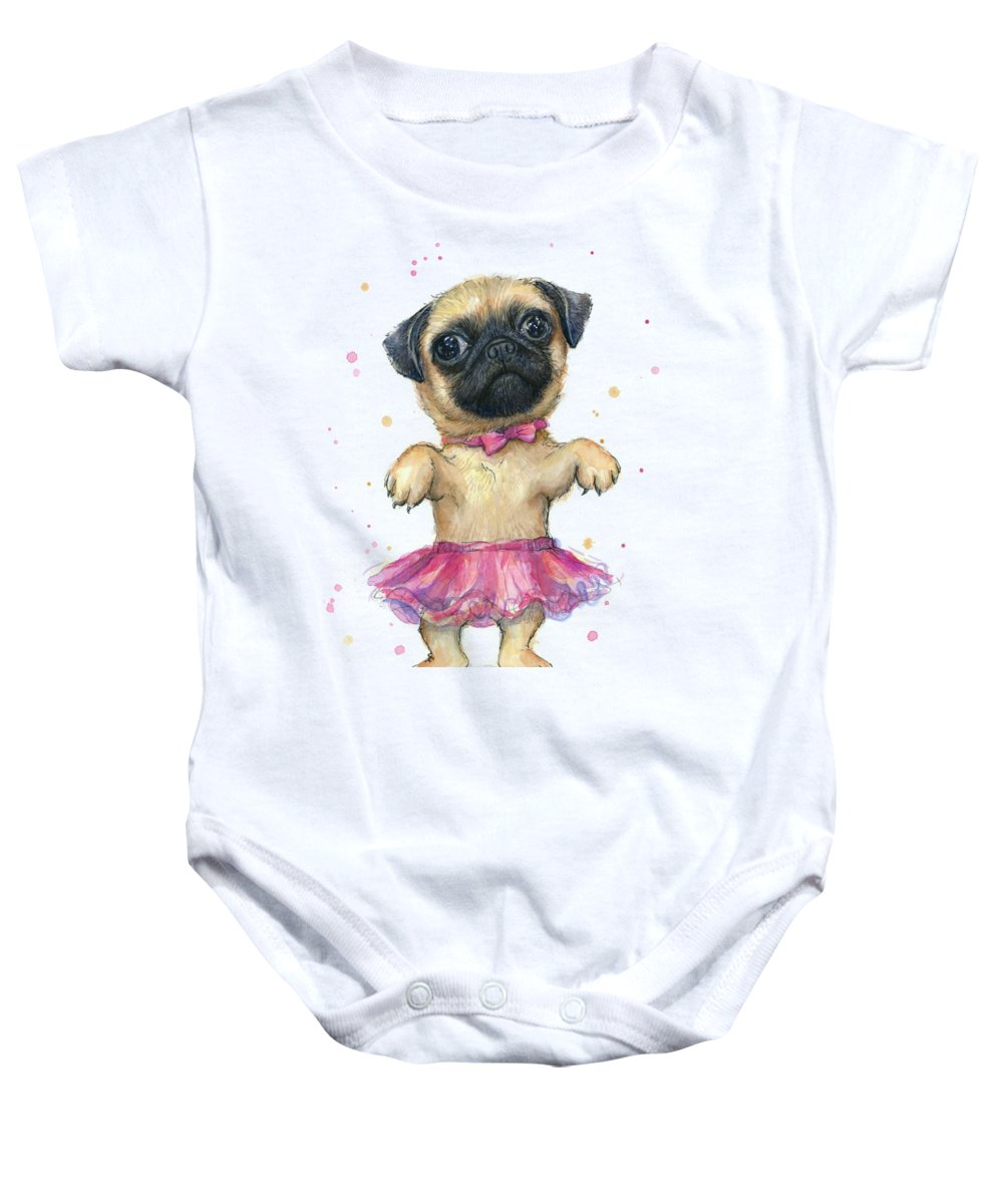 ecb17d9aa Pug Baby Onesie featuring the painting Cute Pug Puppy by Olga Shvartsur