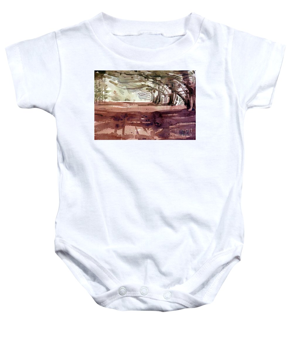 Cypress Baby Onesie featuring the painting Cypress At Moss Beach by Donald Maier