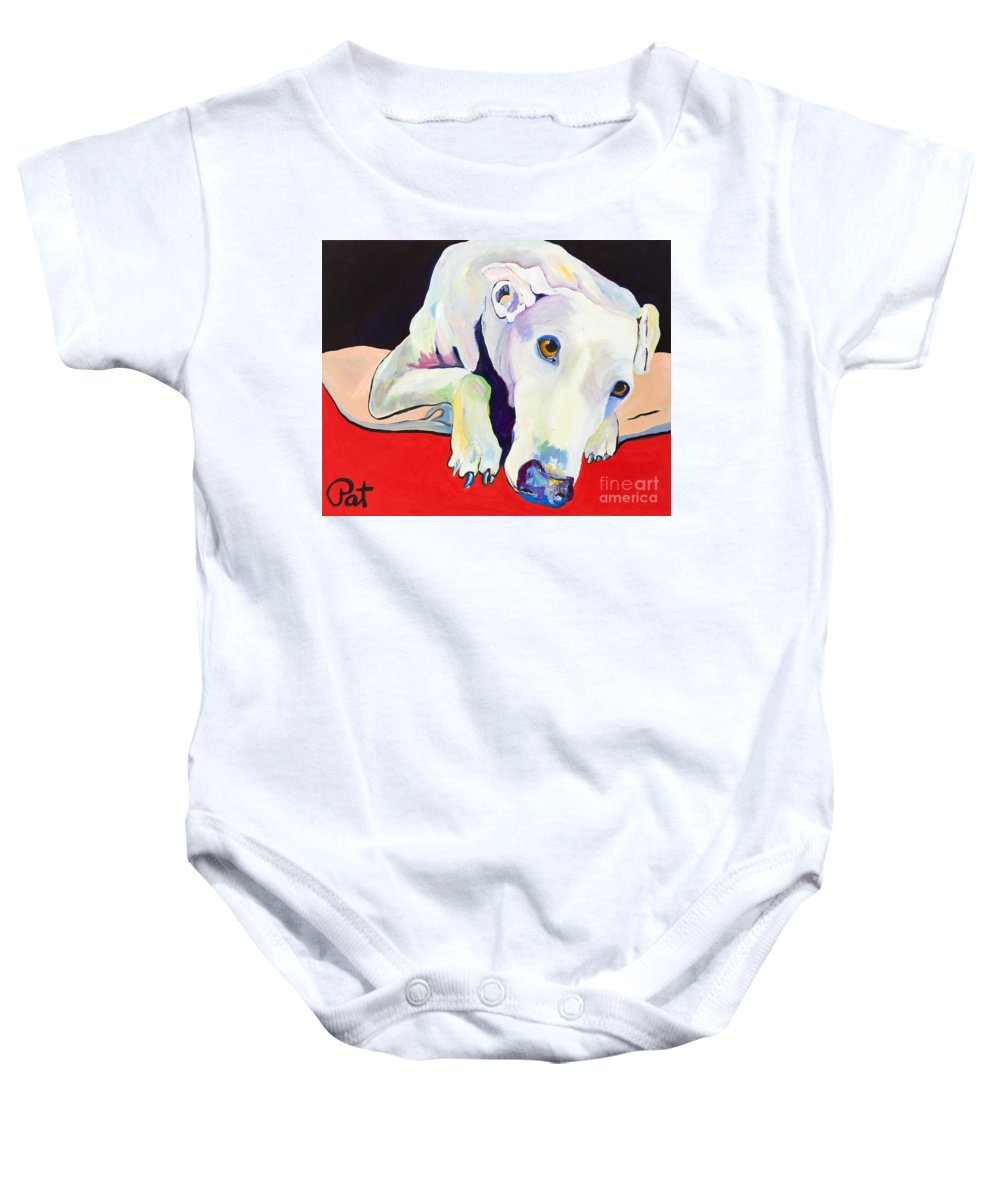 Animals Pets Greyhound Baby Onesie featuring the painting Cyrus by Pat Saunders-White