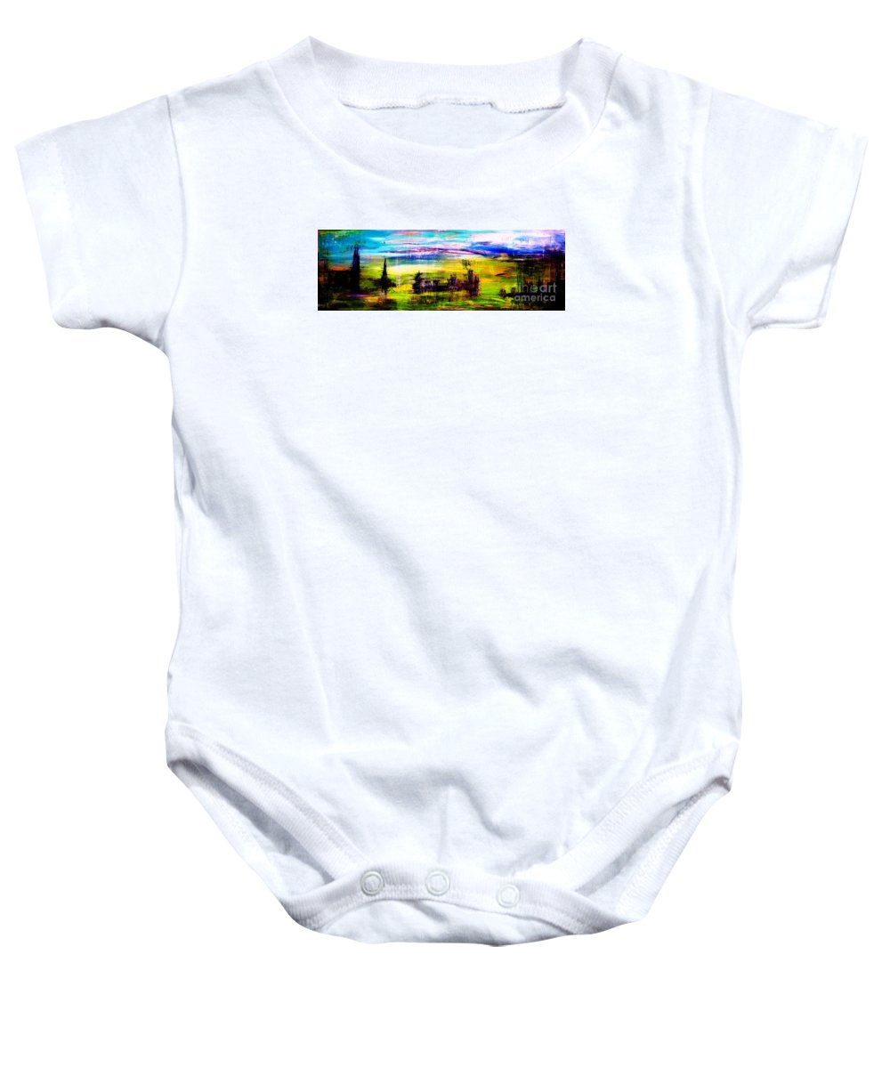 Town Baby Onesie featuring the painting D22 - Utopia by Kunst mit Herz Art with Heart