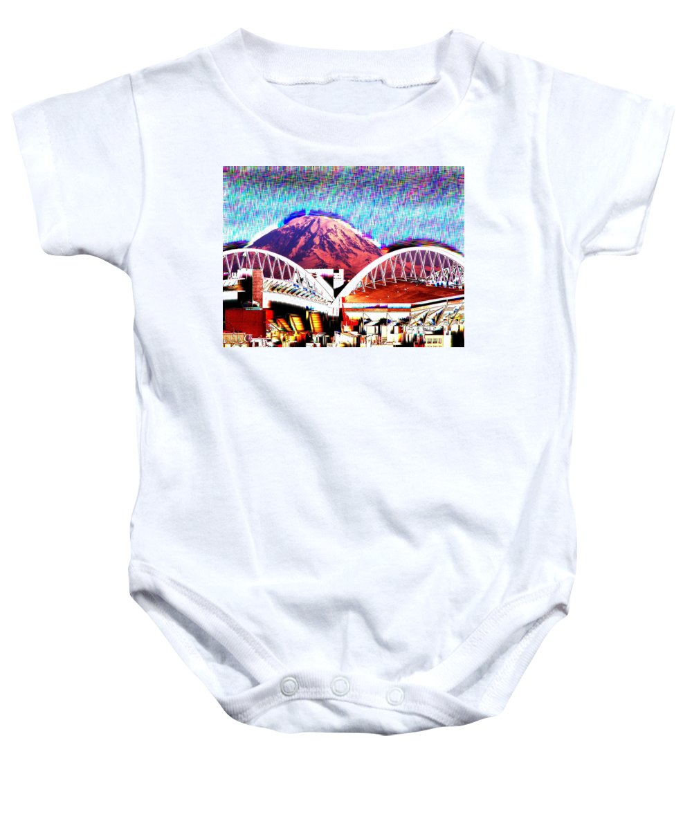 Seattle Baby Onesie featuring the photograph Da Mountain And Stadia 2 by Tim Allen