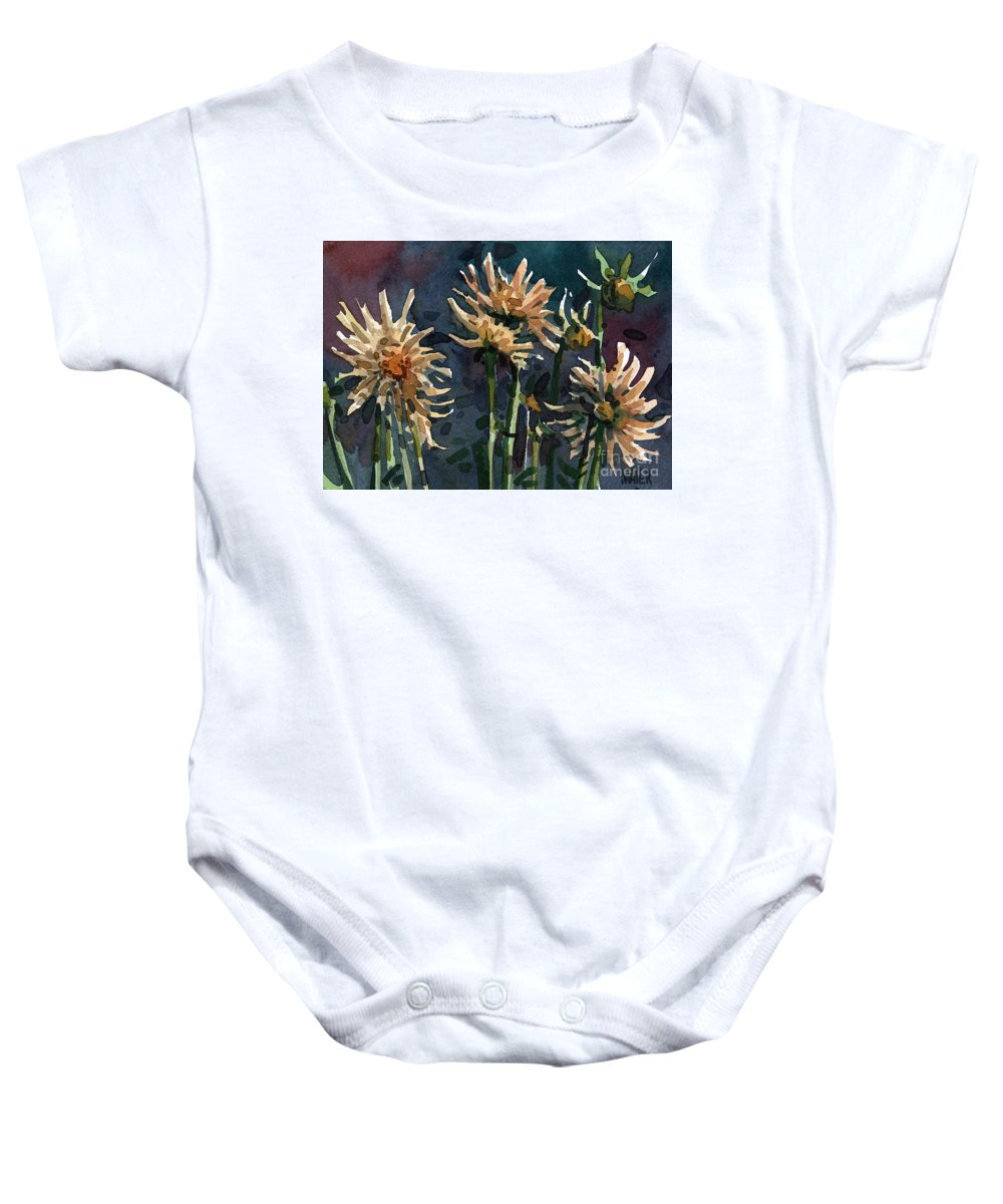 Floral Baby Onesie featuring the painting Dahlias by Donald Maier