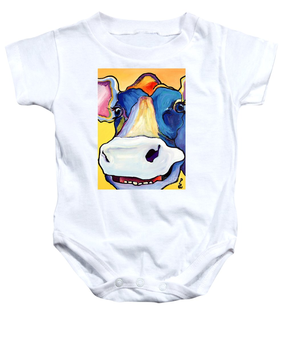 Cow Print Baby Onesie featuring the painting Dairy Queen I  by Pat Saunders-White