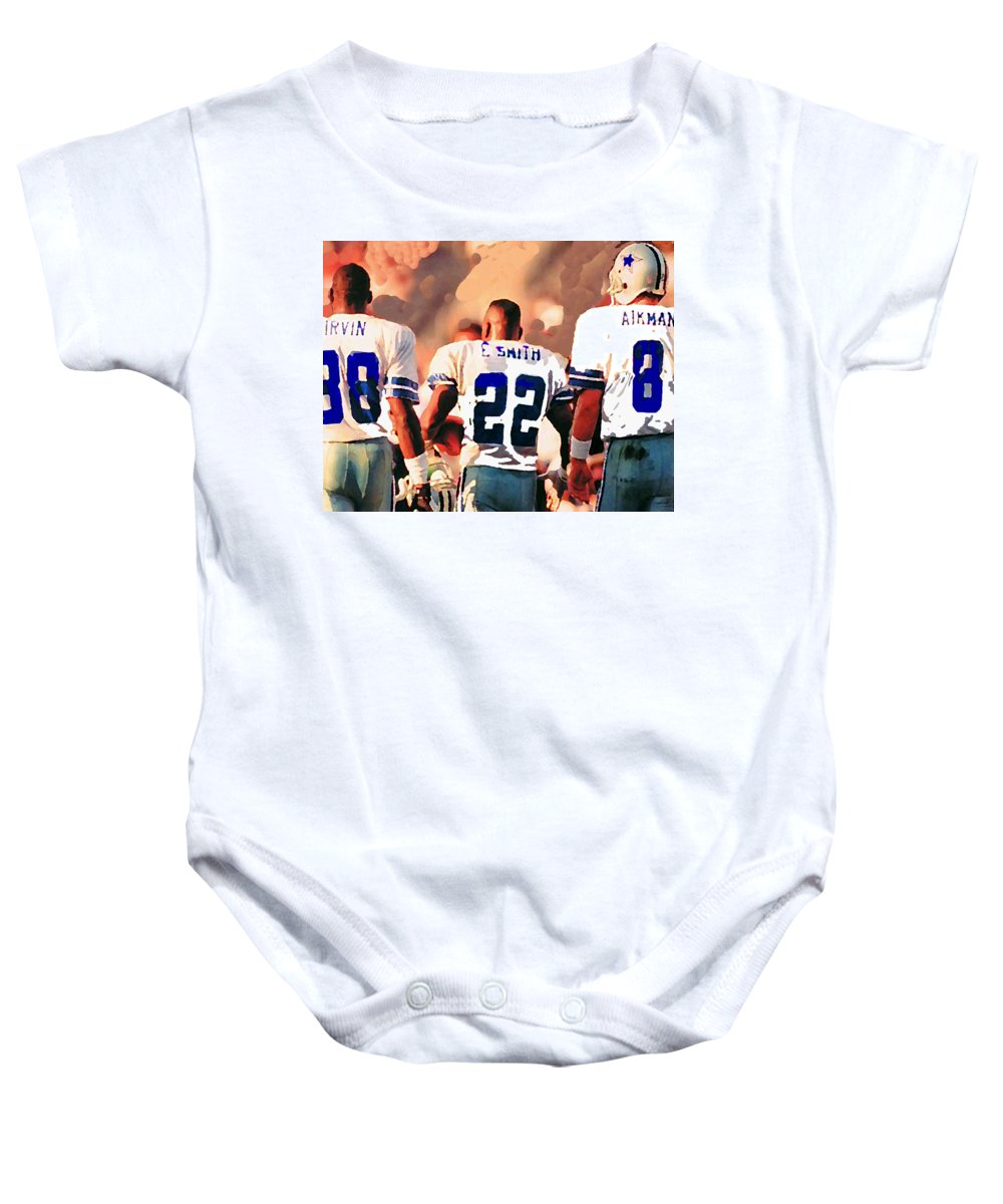 Dallas Cowboys Baby Onesie featuring the mixed media Dallas Cowboys Triplets by Paul Van Scott