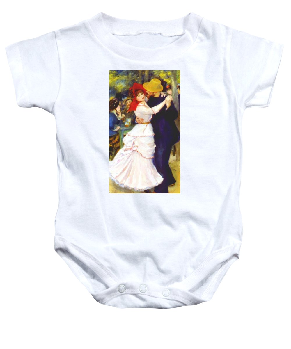 Dance Baby Onesie featuring the painting Dance At Bougival 1883 by Renoir PierreAuguste