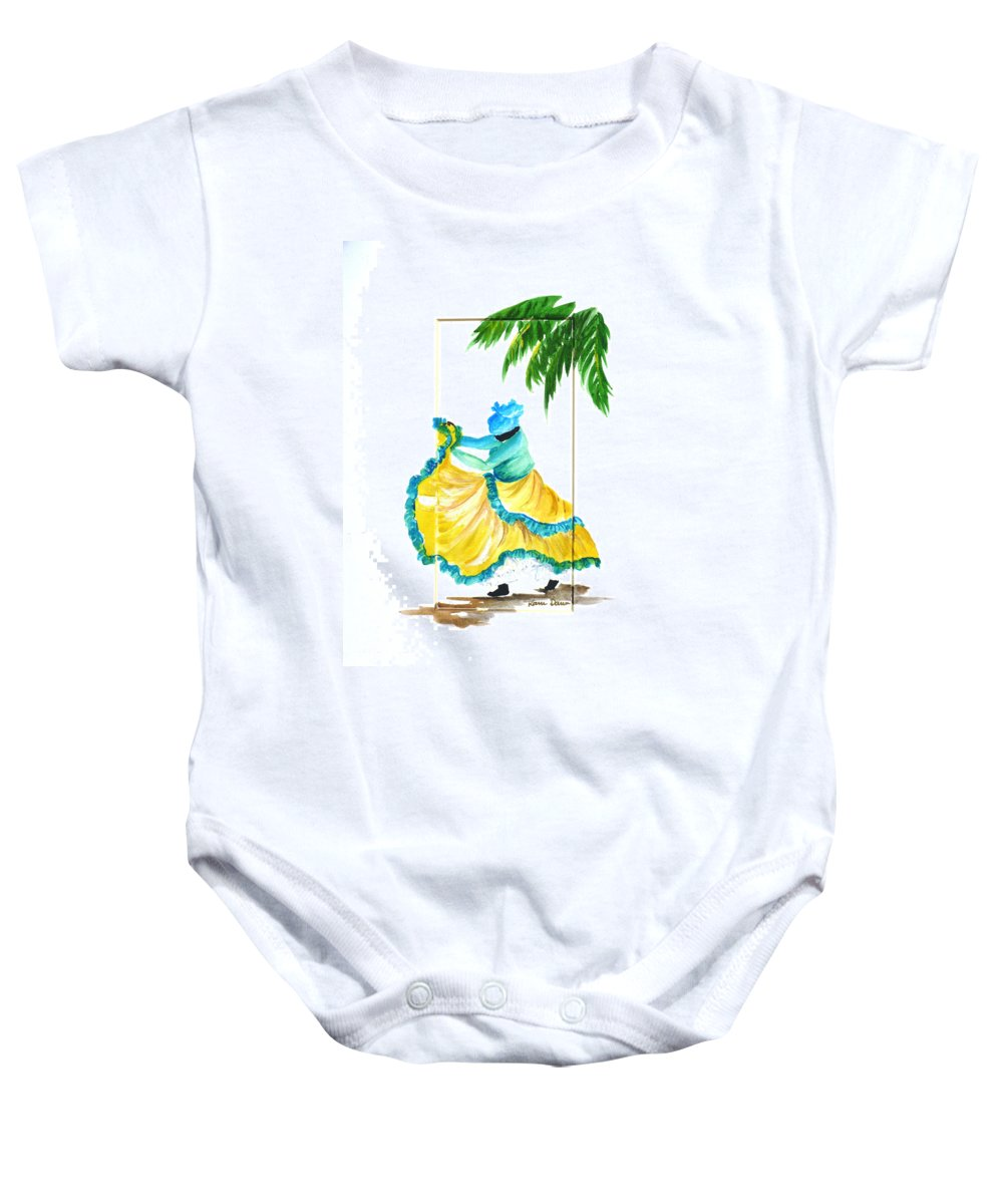 Dance Folk Caribbean Tropical Baby Onesie featuring the painting Dance De Belaire by Karin Dawn Kelshall- Best