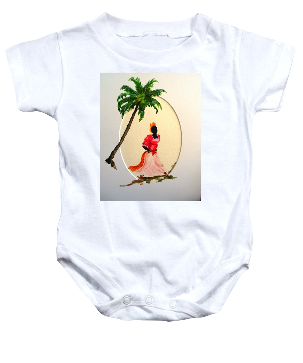 Caribbean Dancer Baby Onesie featuring the painting Dancer 1 by Karin Dawn Kelshall- Best