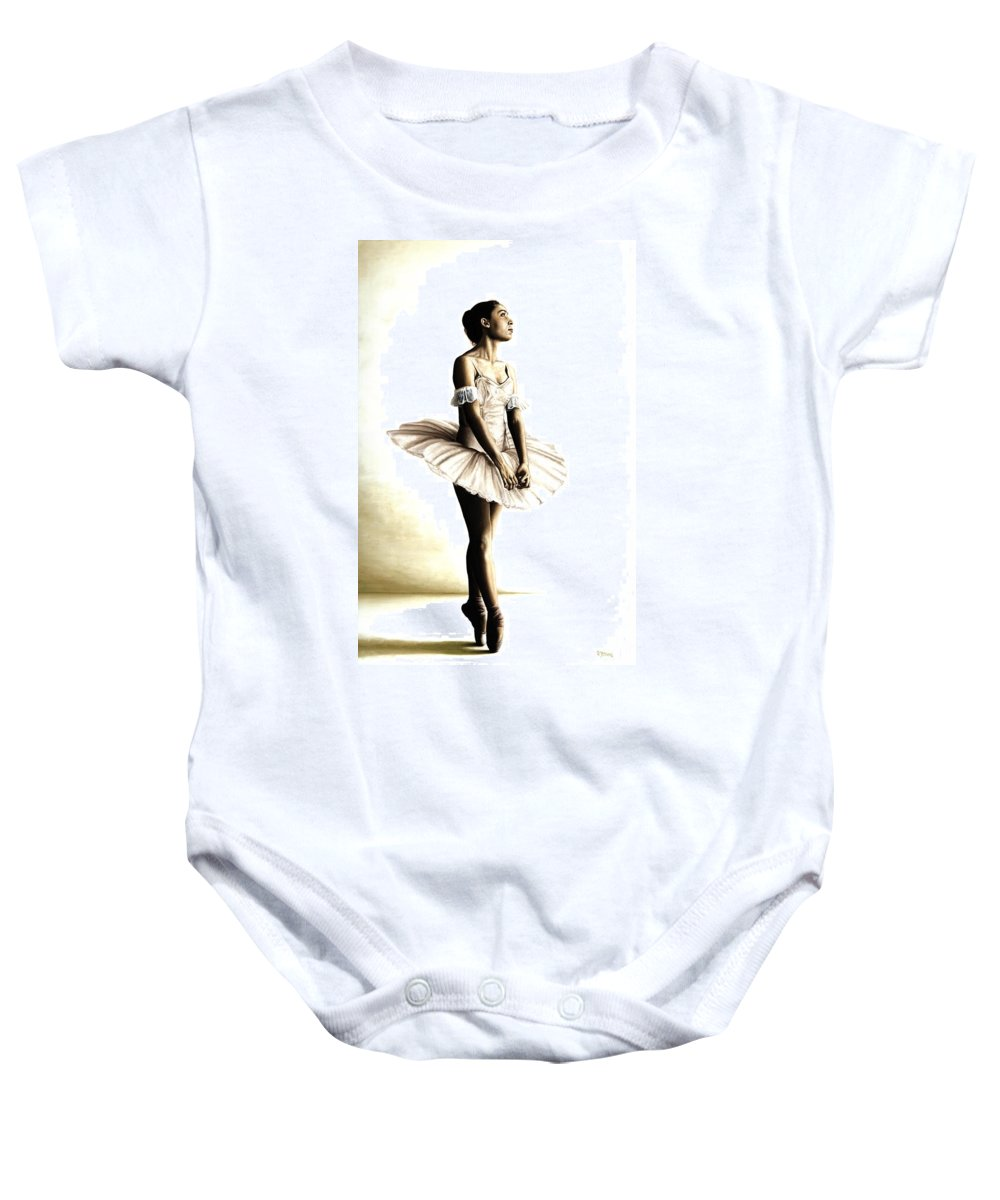 Ballet Baby Onesie featuring the painting Dancer At Peace by Richard Young