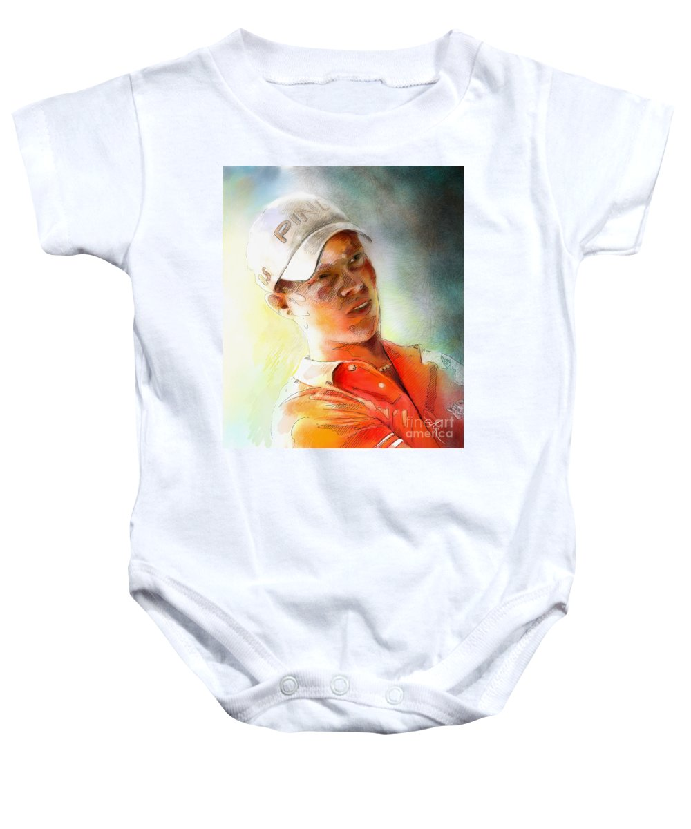 Gold Portrait Painting Danny Willett Art Madrid Masters Pga Tour Baby Onesie featuring the painting Danny Willett In The Madrid Masters by Miki De Goodaboom