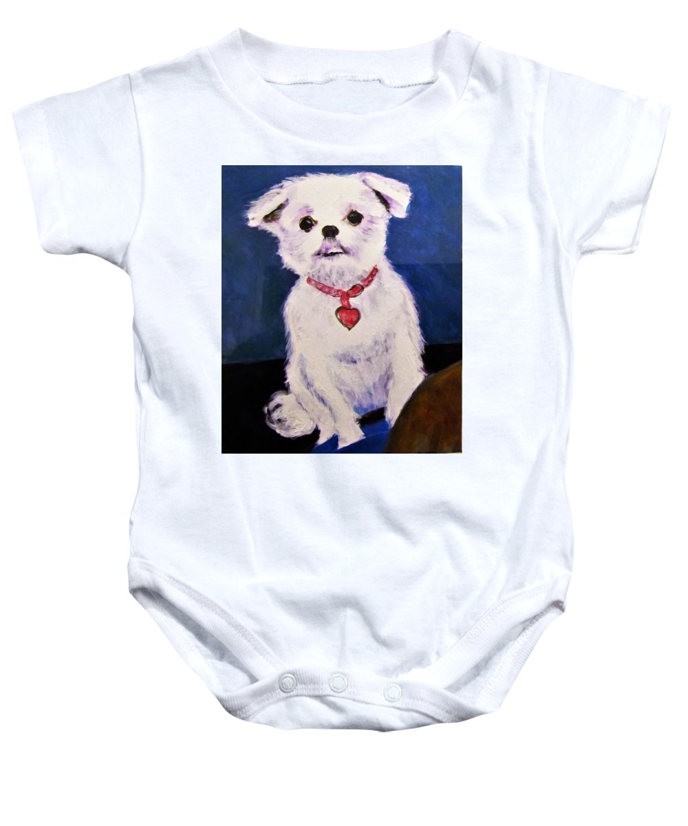 Pet Portrait Baby Onesie featuring the painting Daphne by J M Starz