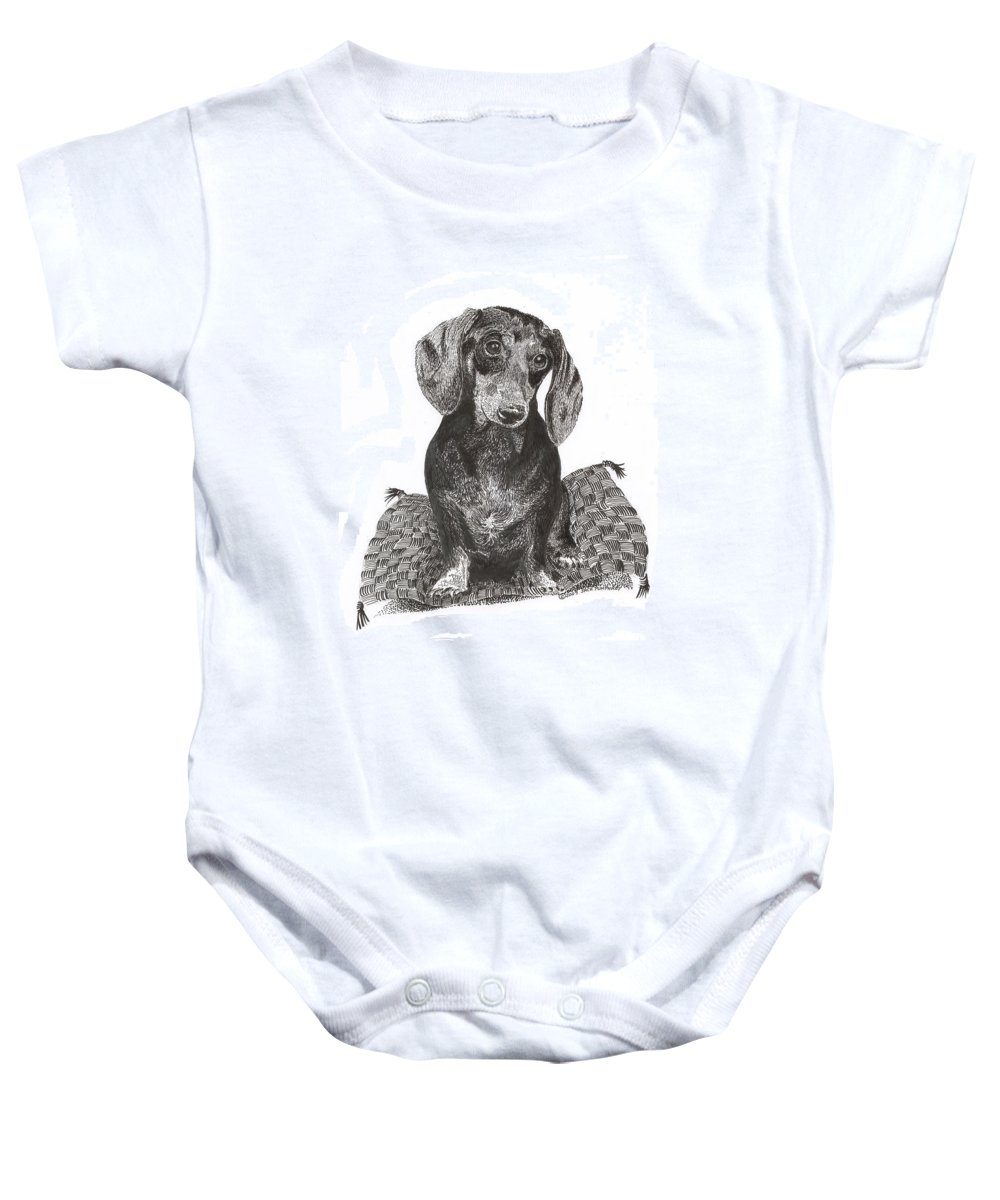 Framed Prints Of Man�s Best Friend. Framed Pen & Ink Art Of Winer Dogs. Ink Art Of Pets. Art Of Dogs And Cats.ink Portraits Of Dogs Baby Onesie featuring the drawing Dashound Pride by Jack Pumphrey