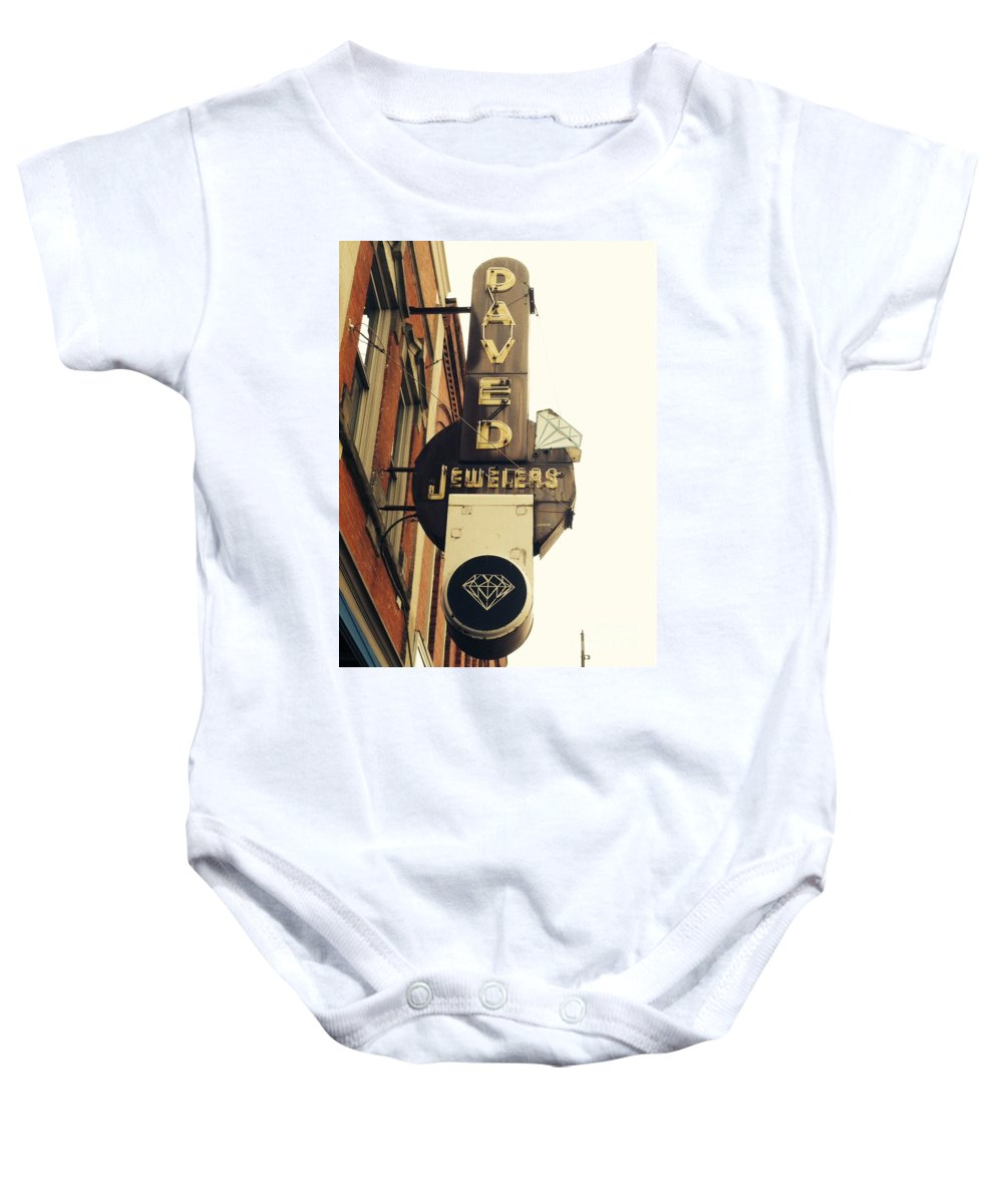 Daved Baby Onesie featuring the photograph Daved Jewelers by Michael Krek