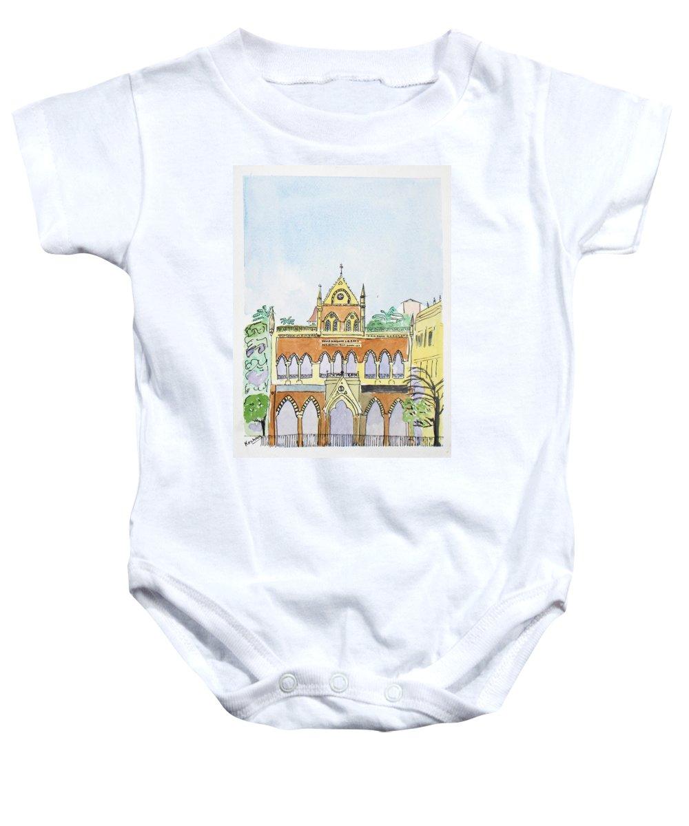 Watercolor Baby Onesie featuring the painting David Sasson Library Mumbai by Keshava Shukla