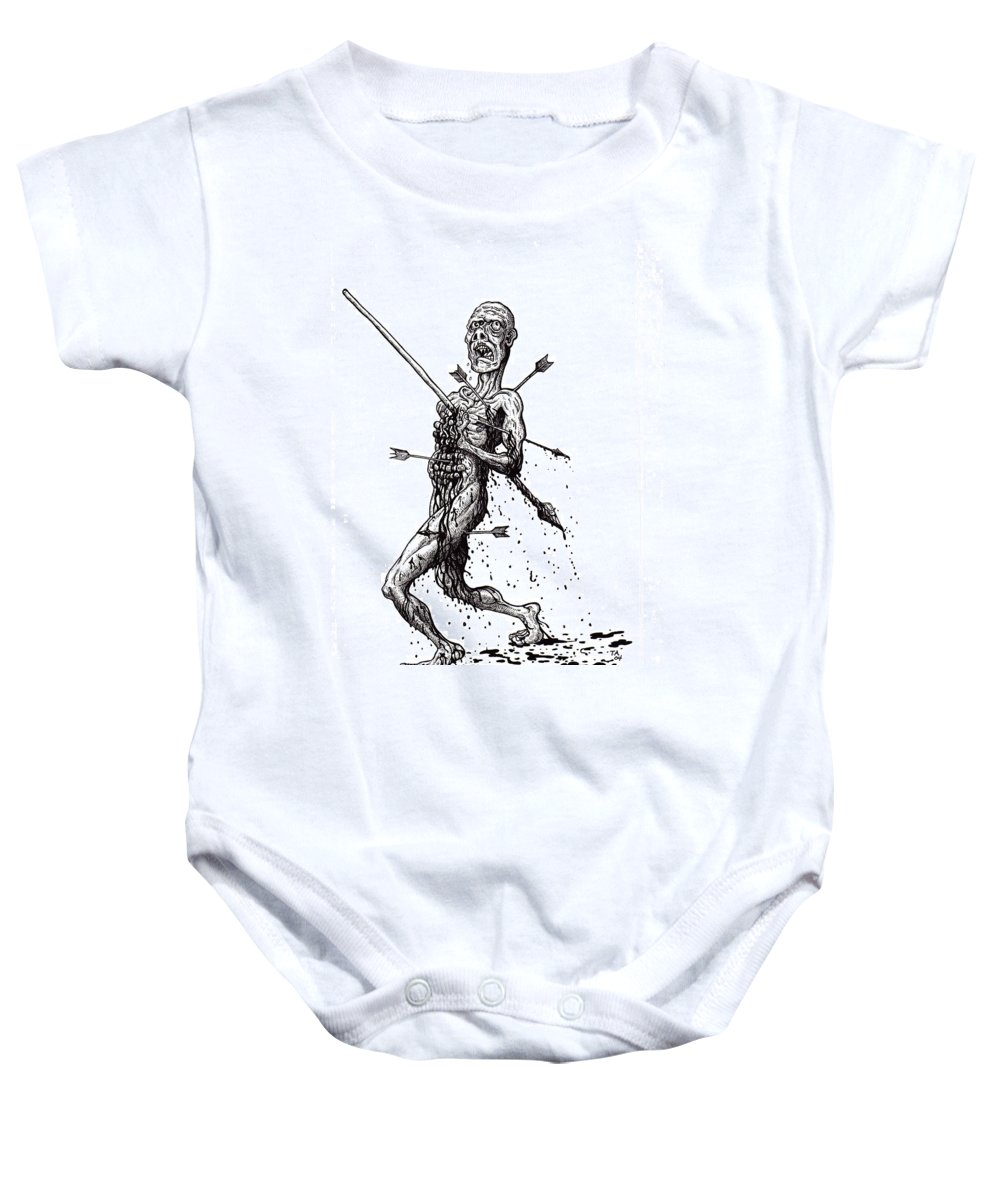 Dark Baby Onesie featuring the drawing Death March by Tobey Anderson
