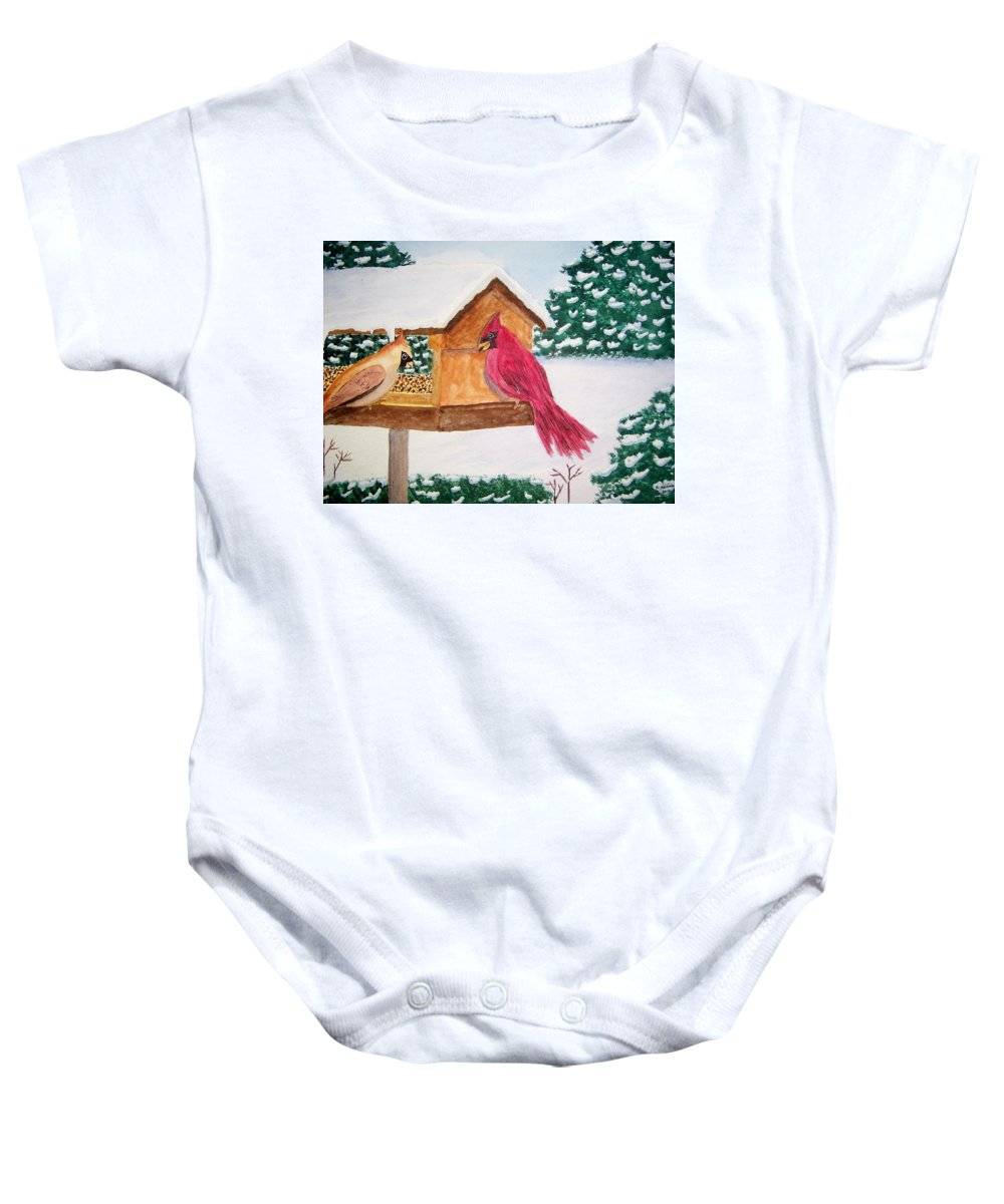 Landscape Baby Onesie featuring the painting December Feast by B Kathleen Fannin