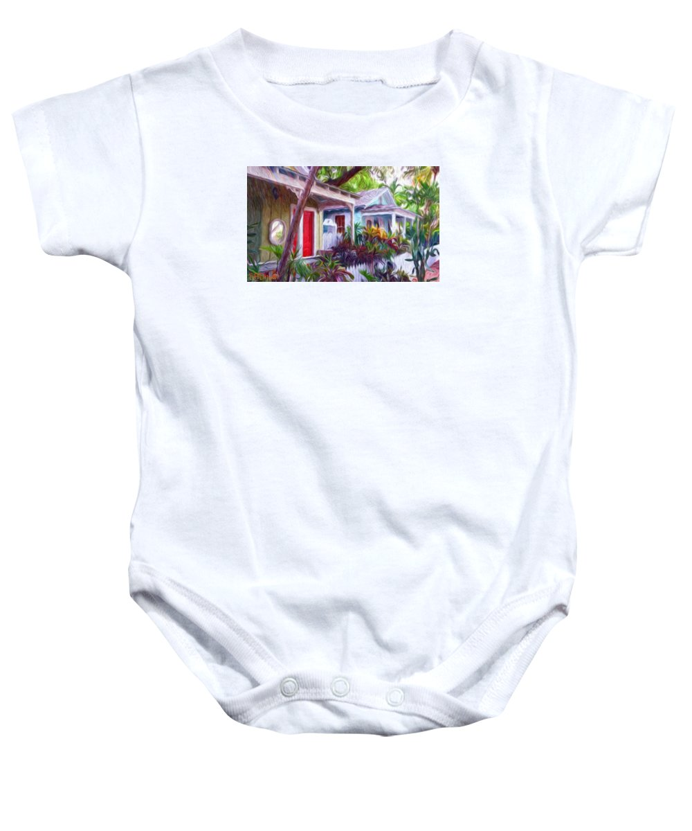 Tropical Baby Onesie featuring the painting Dee Dee's Street by Susie Shaw