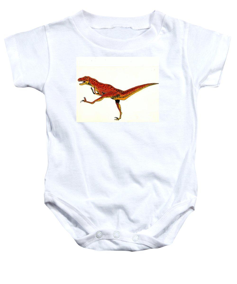 Dinosaur Baby Onesie featuring the painting Deinonychus by Michael Vigliotti