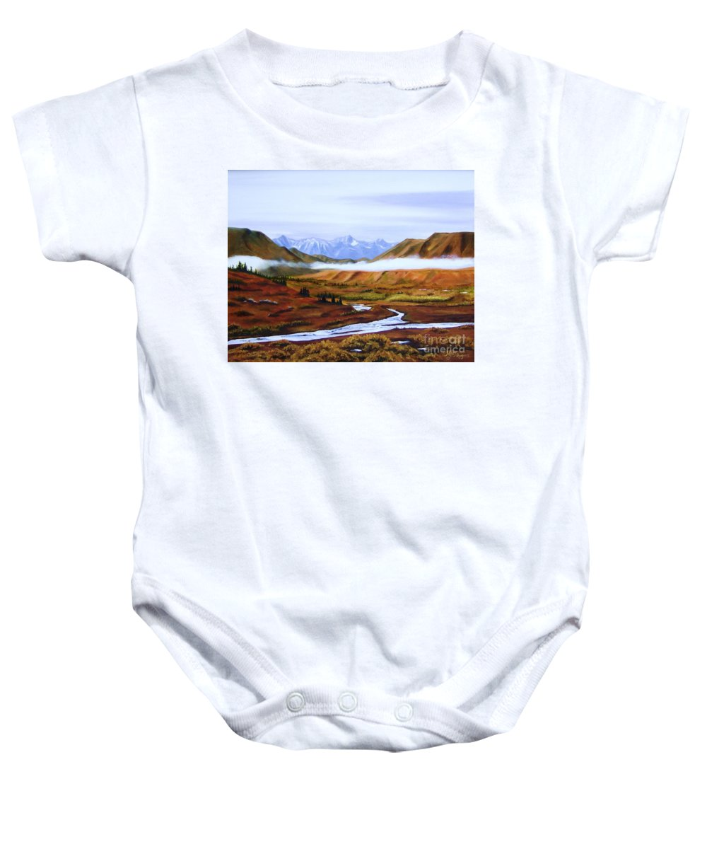 Art Baby Onesie featuring the painting Denali Autumn by Mary Rogers