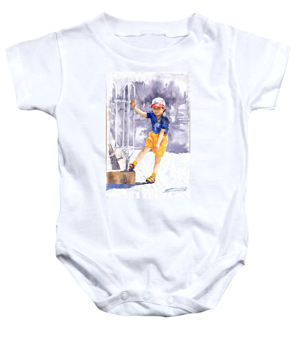 Watercolor Watercolour Figurativ Portret Baby Onesie featuring the painting Denis 02 by Yuriy Shevchuk