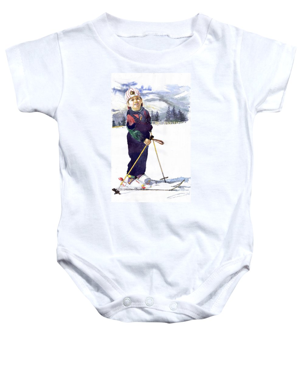 Watercolor Watercolour Figurative Ski Children Portret Realism Baby Onesie featuring the painting Denis 03 by Yuriy Shevchuk