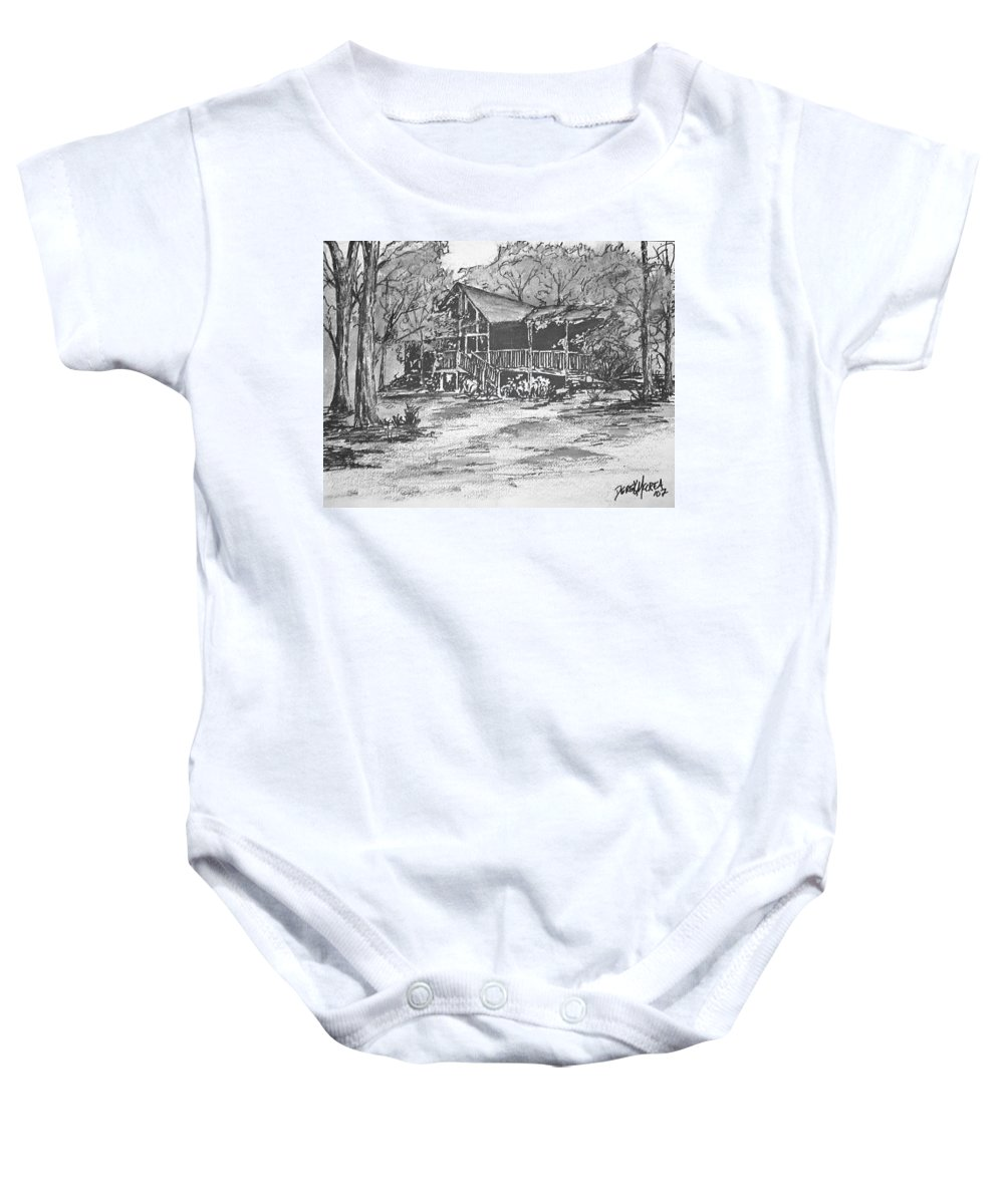 Barn Baby Onesie featuring the painting Derrick by Derek Mccrea
