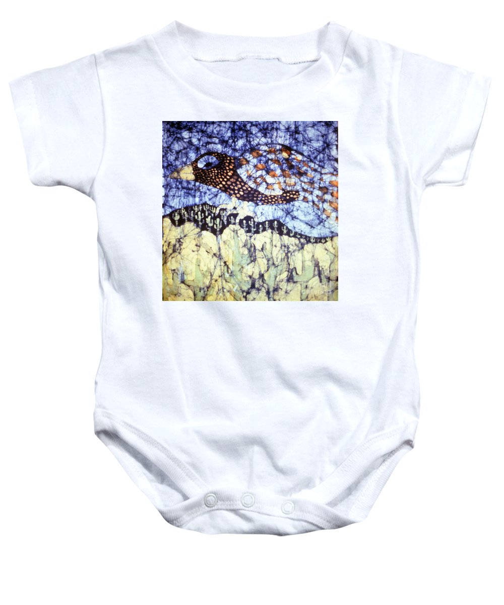 Desert Baby Onesie featuring the tapestry - textile Desert Crow by Carol Law Conklin