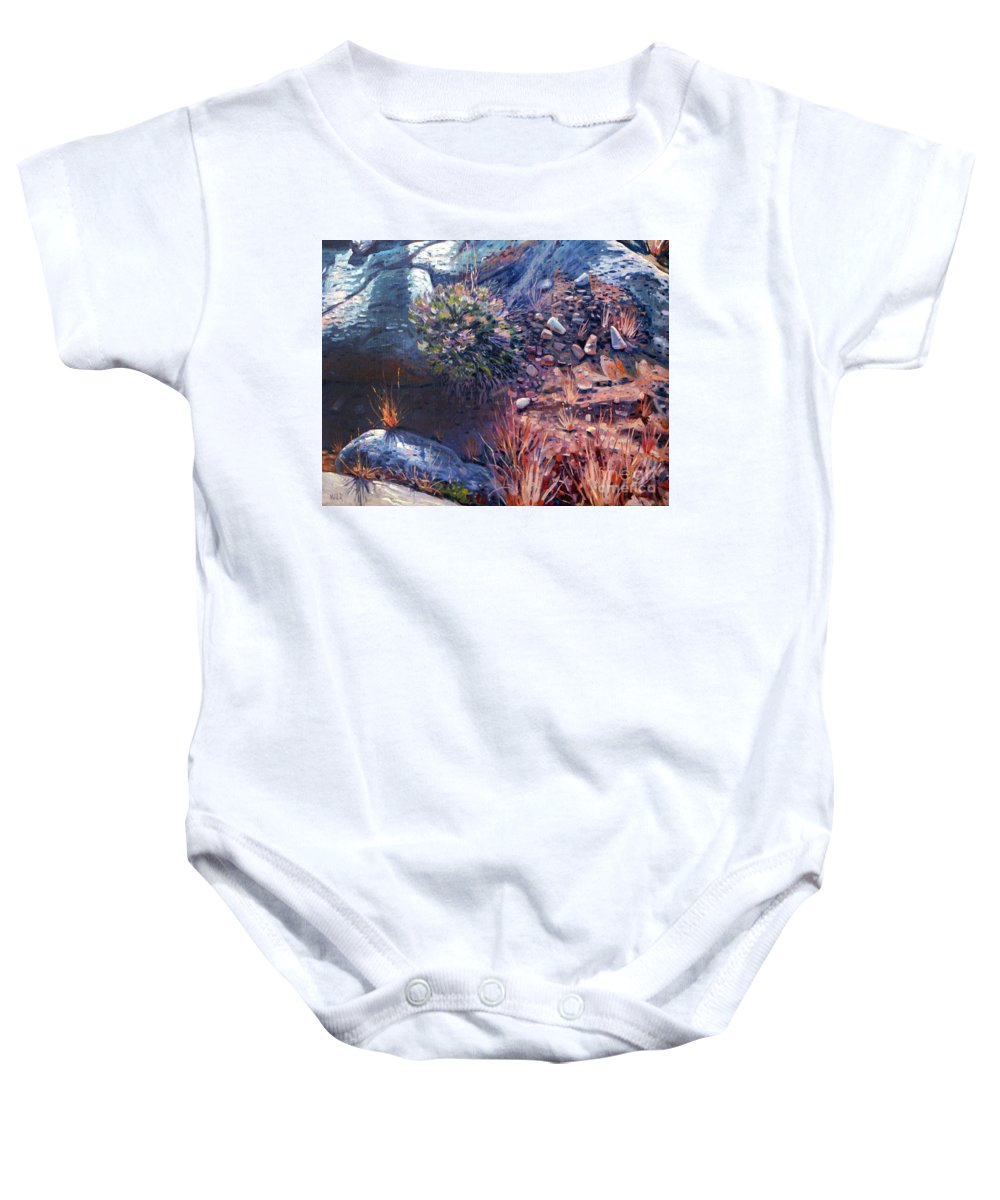Desert Baby Onesie featuring the painting Desert Floor by Donald Maier