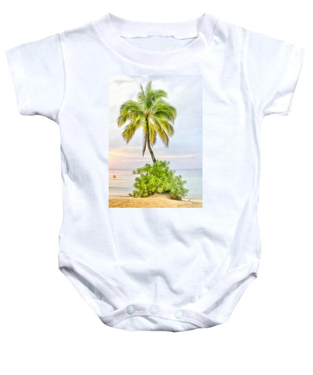 Deserted Baby Onesie featuring the painting Deserted Beach Tioman by Sergey Lukashin