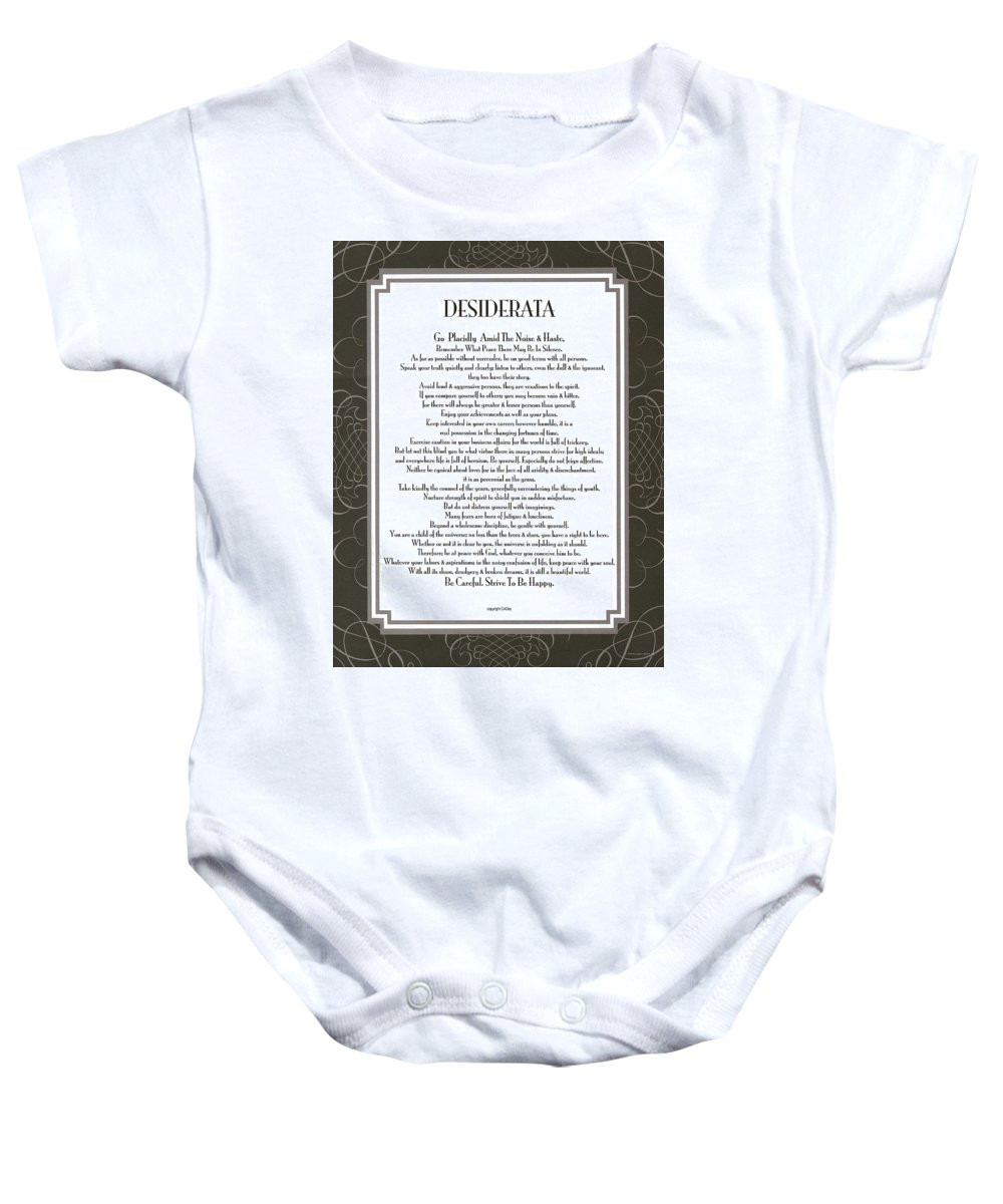 Desiderata Fine Art Poem Poster Print Max Ehrmann Motivational Inspirational Baby Onesie featuring the mixed media Desiderata Black Swirl Sans by Desiderata Gallery