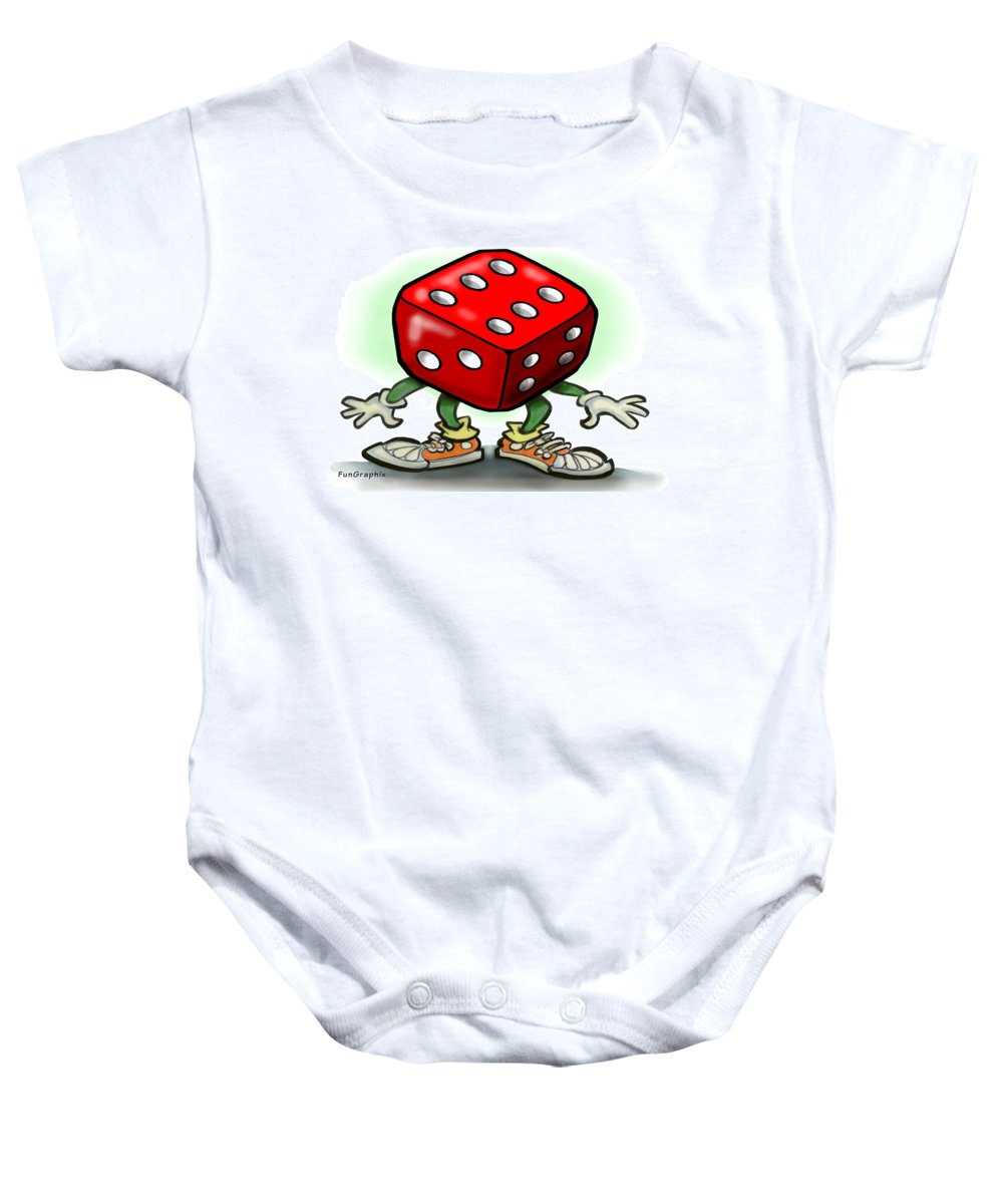 Dice Baby Onesie featuring the greeting card Dice by Kevin Middleton