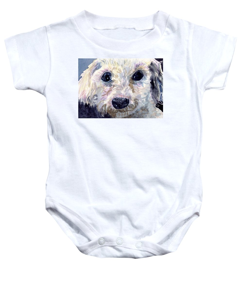 Bichon Frise Baby Onesie featuring the painting Did You Say Lunch by Sharon E Allen