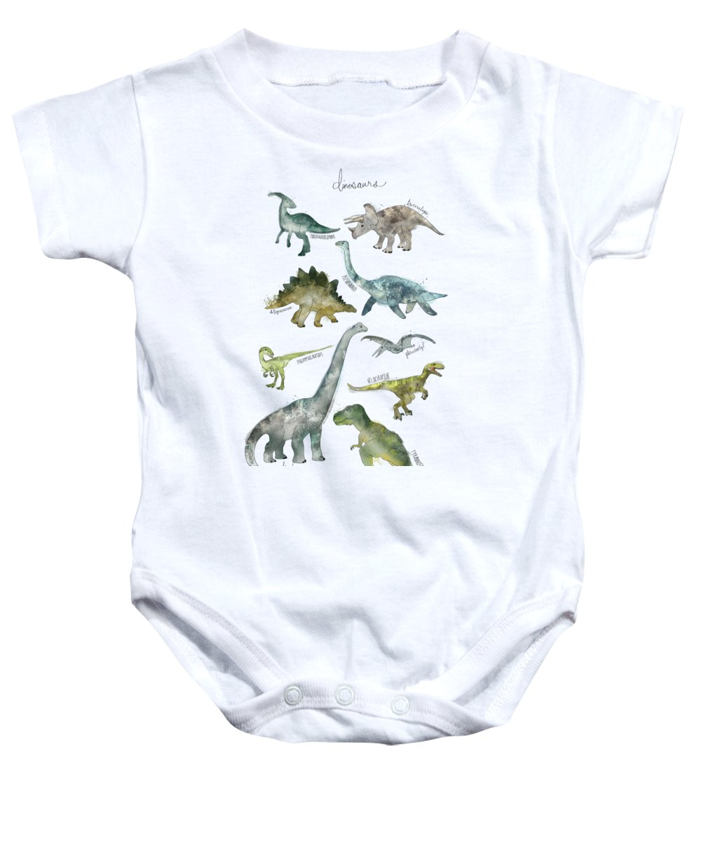 Dinosaurs Baby Onesie featuring the painting Dinosaurs by Amy Hamilton