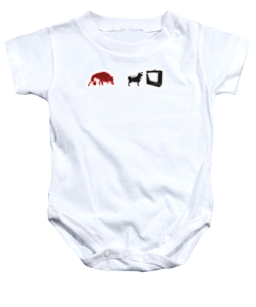 Banksy Baby Onesie featuring the digital art Distraction by Pixel Chimp and Dave Merrill