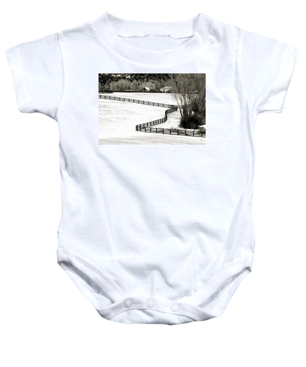 Americana Baby Onesie featuring the photograph Dividing Lines by Marilyn Hunt