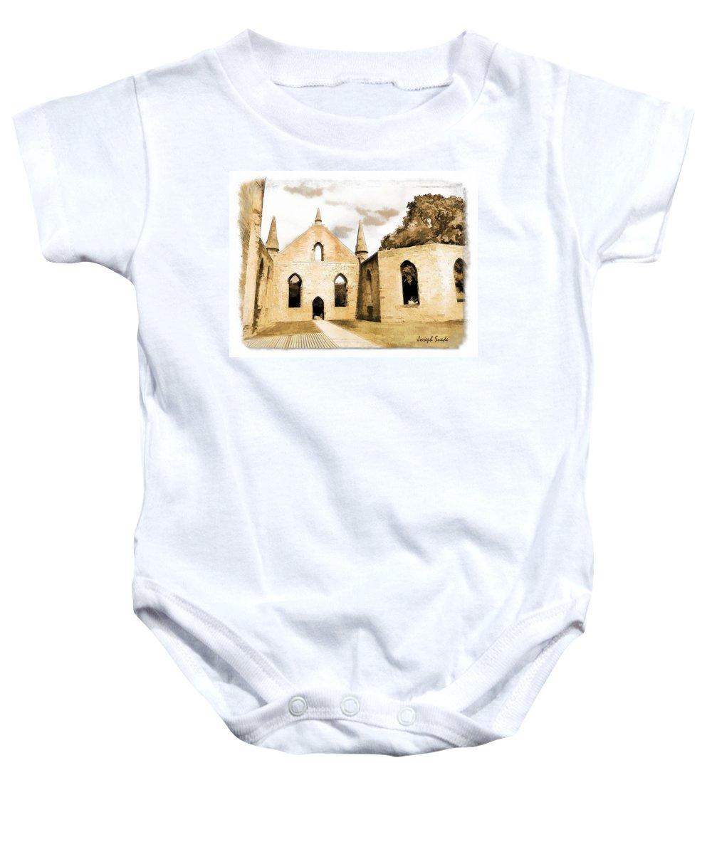 Church Baby Onesie featuring the photograph Do-00248 Church At Port Arthur by Digital Oil