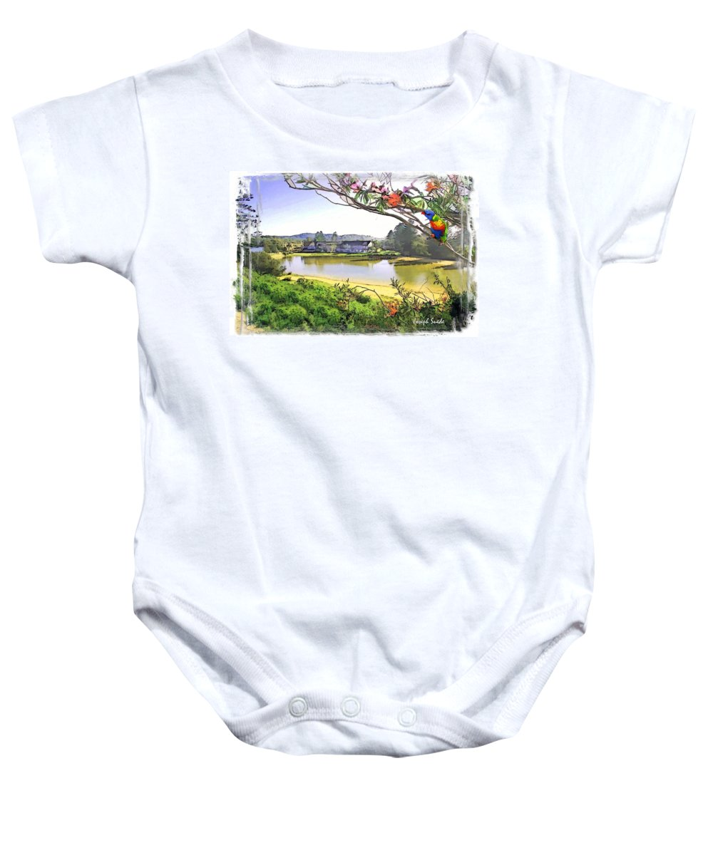 Clan Baby Onesie featuring the photograph Do-00289 The Clan Lakeside Lake Lodge by Digital Oil