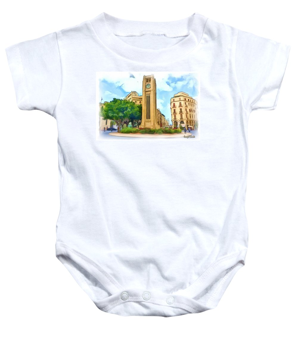 Clock Baby Onesie featuring the photograph Do-00358 The Clock Tower by Digital Oil