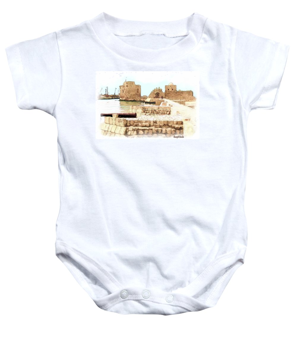 Citadel Baby Onesie featuring the photograph Do-00423 Citadel Of Sidon by Digital Oil
