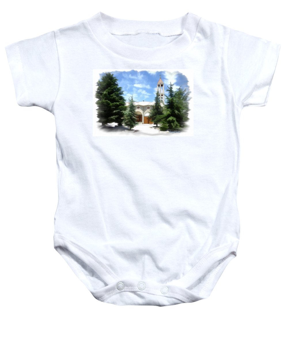 St Charbel Baby Onesie featuring the photograph Do-00460 St Charbel Church by Digital Oil