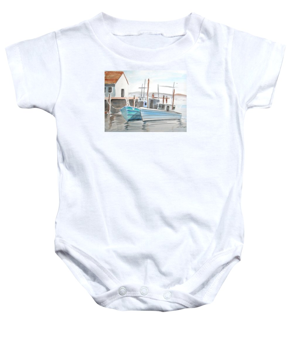 Landscape Baby Onesie featuring the painting Dockside by Scott Easom