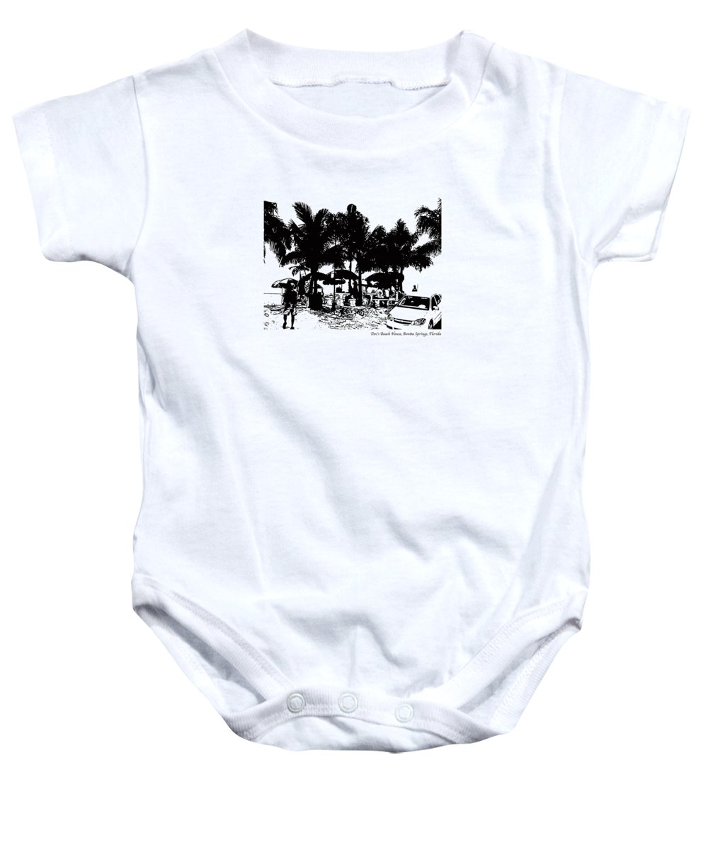Beach Baby Onesie featuring the photograph Doc's Beach House by Laurie Paci