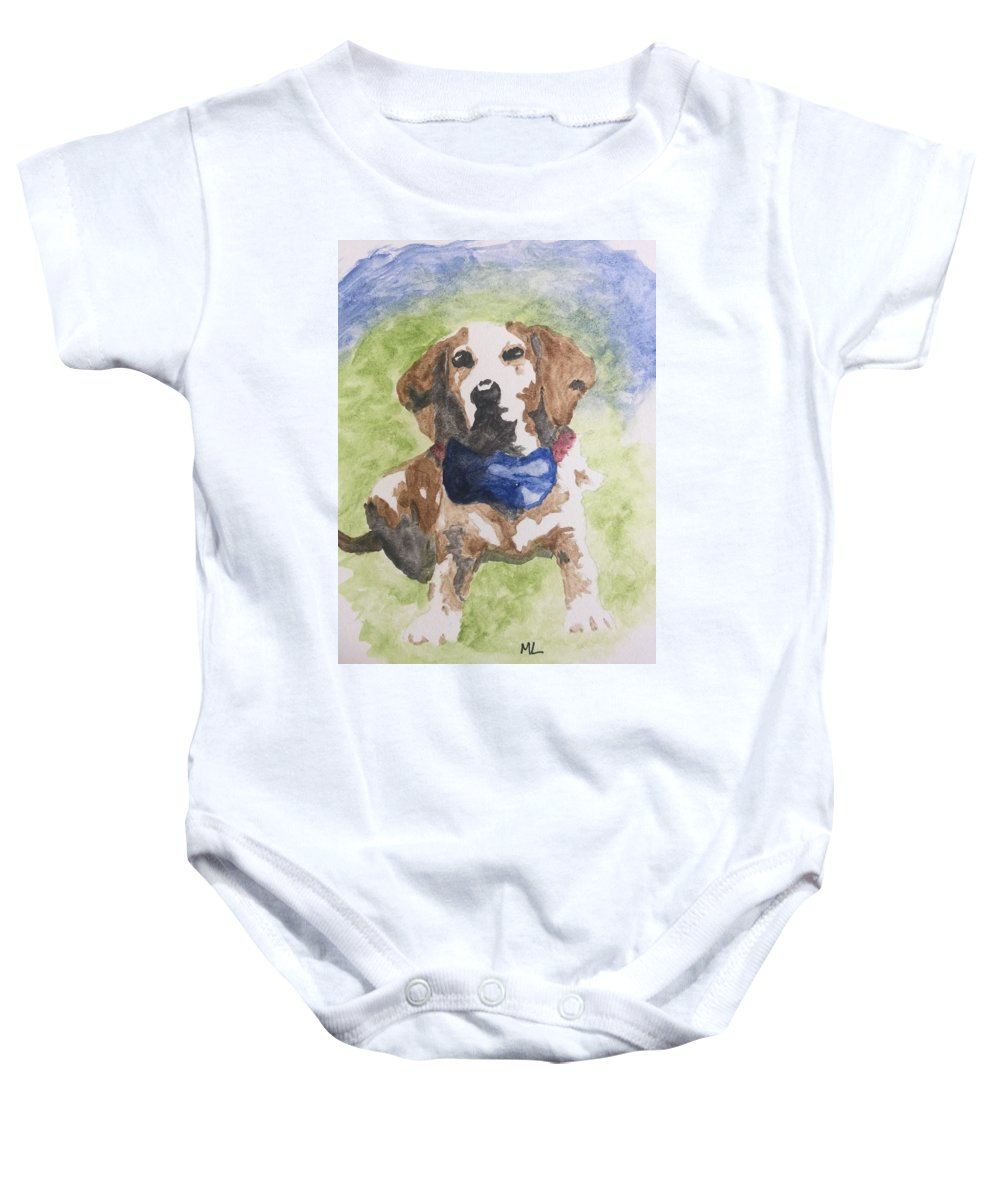 Dog Beagle Bow Tie Collar Outside Baby Onesie featuring the painting Dog In Bow Tie by Mary Lynn Smith